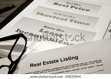 Real Estate Listing Contract Over Professional Realtor Agent