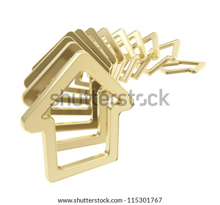 Real estate market collapse: queue line of golden house emblems falling down as domino effect isolated on white background
