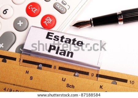real estate plan on business folder showing buy a house concept - stock photo