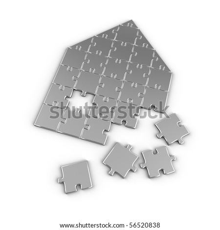 Real estate puzzle - house concept with puzzle pieces over white background