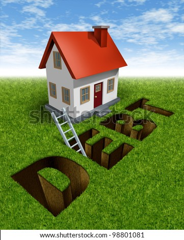 Real estate recovery and help with home mortgage on a grass landscape with the word debt as a hole in the ground and a ladder as a symbol of financial advice to manage savings and avoid foreclosure.