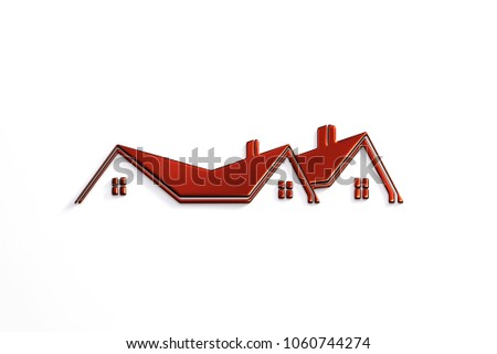 Real Estate Red Logo Design. 3D Rendering Illustration