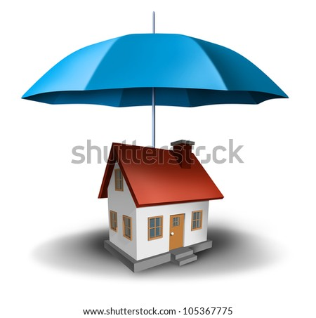 real estate safety with a house being protected with a secure blue umbrella as a symbol of residential security from mortgage payments or damage on a white background.