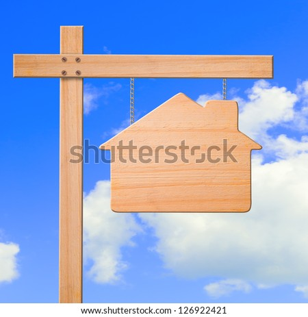 Real estate sign sky background, clipping path. stock photo
