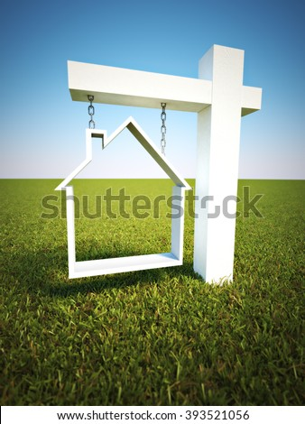 Real estate sign with sky background.