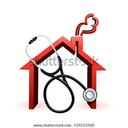 real estate suffering concept with a Stethoscope illustration design over white
