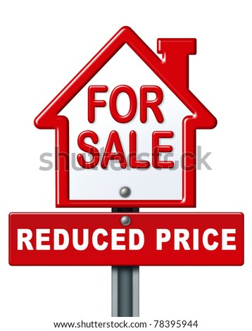 Real estate symbol for a house on sale with a reduced price isolated on white.