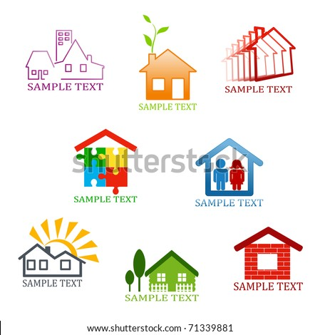 Real estate symbols for design and decorate - also as emblem or sign template. Vector version also available in gallery