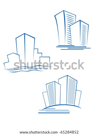 Real estate symbols for design isolated on white - also as emblem or logo template. Vector version also available in gallery