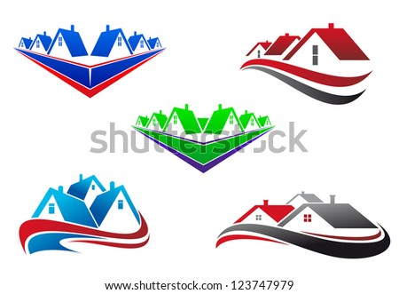 Real estate symbols - roofs and houses elements, such as idea of logo. Vector version also available in gallery