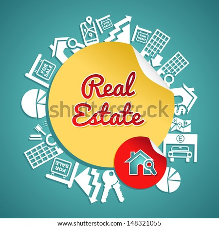 Real estate text, circle, house and lens icons, rental concept illustration.