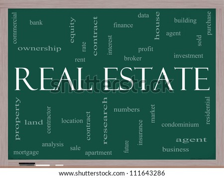 Real Estate Word Cloud Concept on a Blackboard with great terms such as broker, investment, location, market and more.