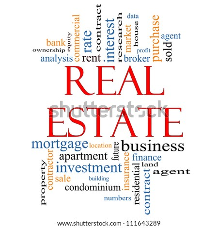 Real Estate Word Cloud Concept with great terms such as broker, investment, location, market and more.