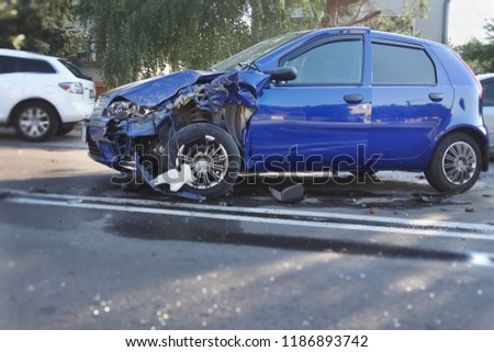 Real event. Car accident. The car crashed on the road . Blue Car accident on the road. #1186893742