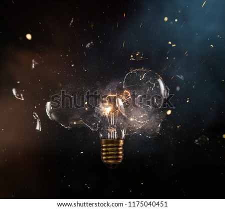 real explosion of vintage electric bulb, close-up. #1175040451