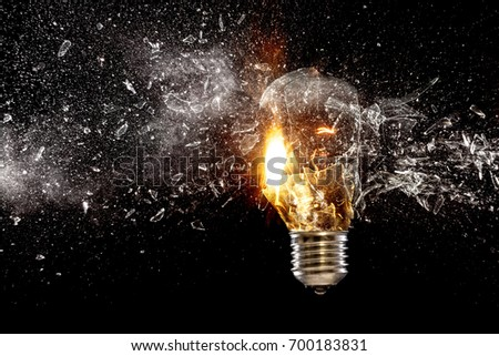 real explosion of vintage electric bulb high speed photography
