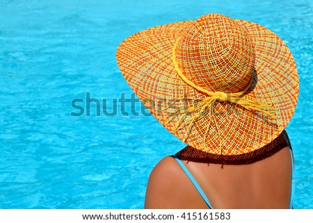 Real female beauty enjoying her summer vacation at swimming pool #415161583