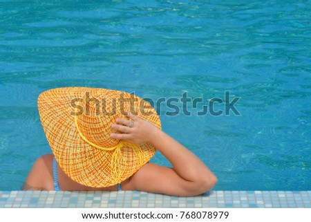 Real female beauty relaxing in swimming pool, summer vacation concept #768078979