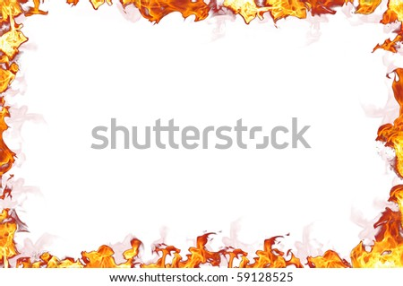 Real fire isolated on white background - stock photo
