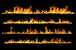 real fire lines isolated on black