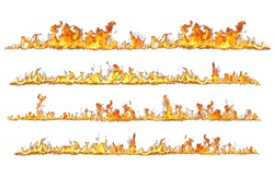 real fire lines isolated on white