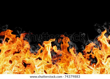 real fire wall isolated on black