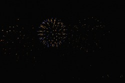 Real Fireworks on Deep Black Background Sky on Fireworks festival show before The independence day on 4 of July