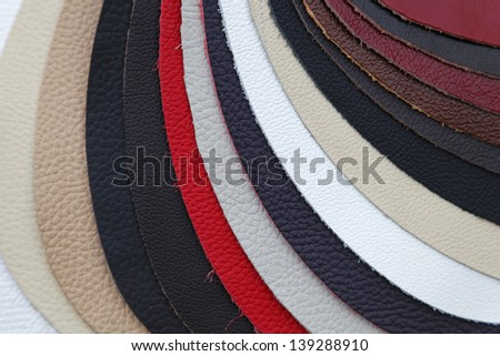 Real genuine leather swatch for furniture industry
