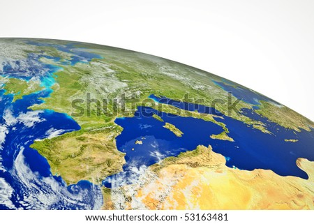 Real globe map. Europe with sea, land and mountains