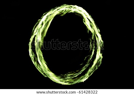 real green fire spinning circle
