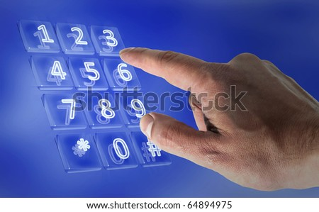 Real hand in a virtual keypad