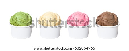 Real ice cream scoops in white cups of chocolate, strawberry, french vanilla and green tea flavours isolated on white background (clipping path included)