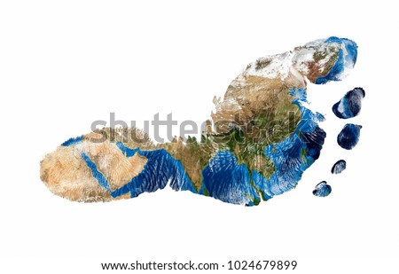 Real imprint of child foot with a world map of Asia - isolated on white background #1024679899