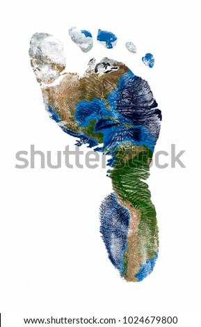 Real imprint of child foot with a world map of north and south america - isolated on white background #1024679800