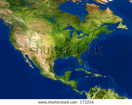 Real looking Earth map.  North America in the center. Globe is accurate and right, like in reality.