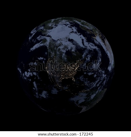 Real looking Earth planet. Night, lights of cities, clouded. Globe is accurate, like in reality.