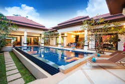 real luxury exterior design pool villa with interior design living room  home, house ,building