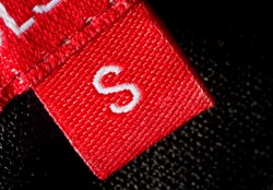 real macro of s size clothing label