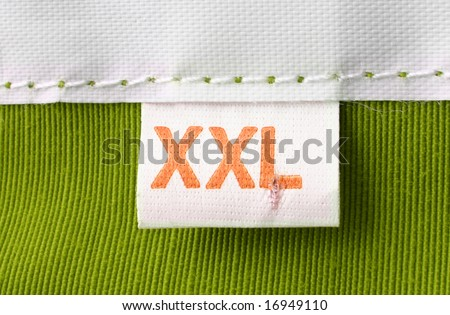 real macro of XXL size clothing label
