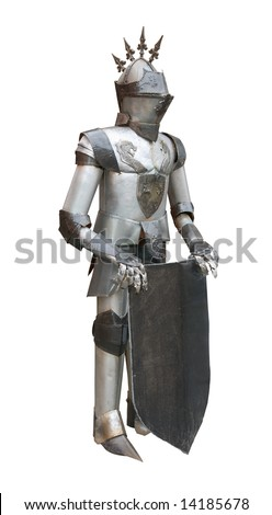 Real Medieval Knight Armor Isolated On White Stock Photo 14185678 ...