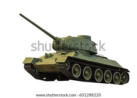 real military tank on a white background