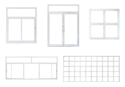 Real modern office window and door  frame set isolated on white background, double pvc panes in various type for interior design frontstore element
