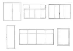 Real modern windows set isolated on white background, various office frontstore frames collection for design, exterior building aluminium facade element