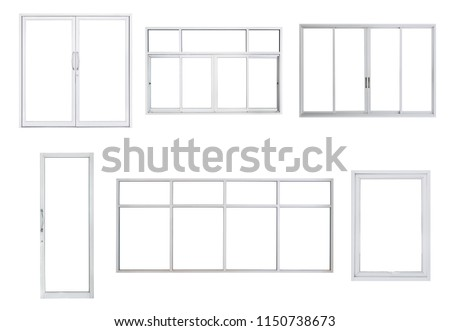 Real modern windows set isolated on white background, various office frontstore frames collection for design, exterior building aluminium facade element  #1150738673