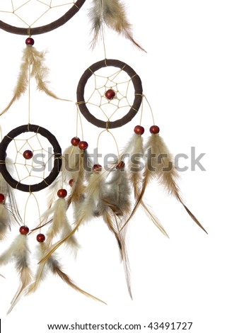 Real native dream catcher details on pure white background