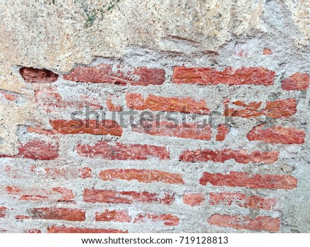 Real old brick wall texture background interior in old houses