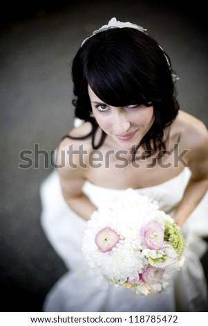 Real person wedding bride with bouquet
