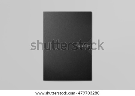 Real photo, black folder on grey background to replace your design. With clipping path, isolated, changeable background. #479703280