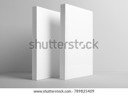 Real photo, blank book, brochure, booklet mockup template, hard cover and soft cover, isolated on light grey background to place your design.  - Shutterstock ID 789825409