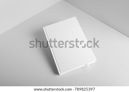 Real photo, blank book, brochure, booklet mockup template, hard cover, isolated on light grey background to place your design.  - Shutterstock ID 789825397